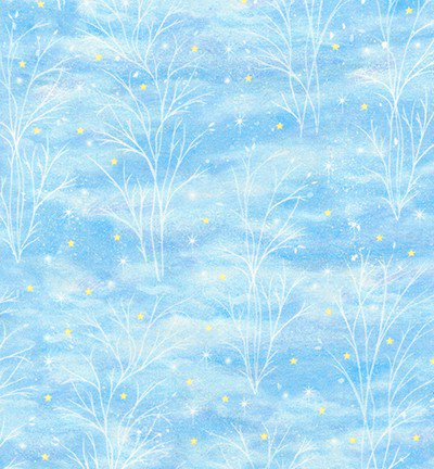 "Robert Kaufman ""Warm Wishes # AURD-18563-277-WINTER - Winter Trees and Stars on Light Blue MAIN"