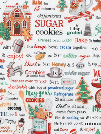 "Robert Kaufman ""Holly Jolly Christmas"" # 17554-223-HOLIDAY - Christmas Recipes Digital Print THUMBNAIL"