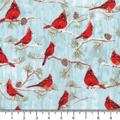 "Robert Kaufman ""Winter White 3"" # 17375-277 WINTER - Cardinals on Blue MAIN"