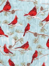 "Robert Kaufman ""Winter White 3"" # 17375-277 WINTER - Cardinals on Blue THUMBNAIL"