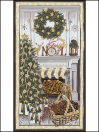 "Timeless Treasures ""Holiday"" # CM5165-Cream - Christmas Fireplace Panel THUMBNAIL"