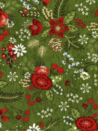 "Moda ""Winter Village"" # 30550-16 - Winter Floral on Green THUMBNAIL"