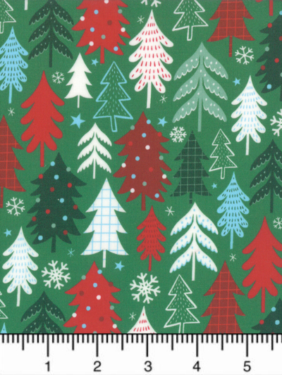 "Moda ""Jolly Season"" # 35343-13 - Christmas Trees and Snowflakes on Green MAIN"