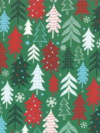 "Moda ""Jolly Season"" # 35343-13 - Christmas Trees and Snowflakes on Green THUMBNAIL"