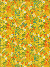 "Moda ""On The Wing"" #35264 col. 14 - Yellow with Orange, Teal and White Flowers THUMBNAIL"