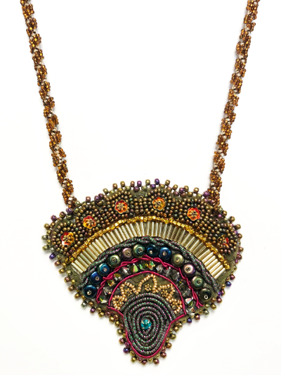 Bead embroidered  pendant necklace