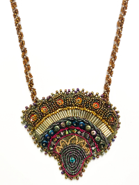 Bead Embroidered Fan Pendant Necklace THUMBNAIL