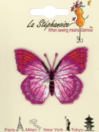 Butterfly Appliqué by La Stéphanoise - # 15338 col. 002 - Fuchsia and Orange THUMBNAIL