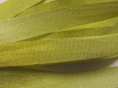 Gibb & Hiney Hand-dyed Silk Ribbon, 7mm — Chartreuse MAIN