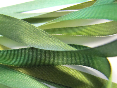 Gibb & Hiney Hand-dyed Silk Ribbon, 7mm — Evergreen MAIN