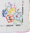 Vintage Tablecloth with Embroidered Flowers in Corners SWATCH
