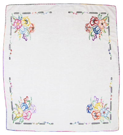 Vintage Tablecloth with Embroidered Flowers in Corners MAIN