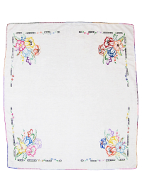 Vintage Tablecloth with Embroidered Flowers in Corners THUMBNAIL