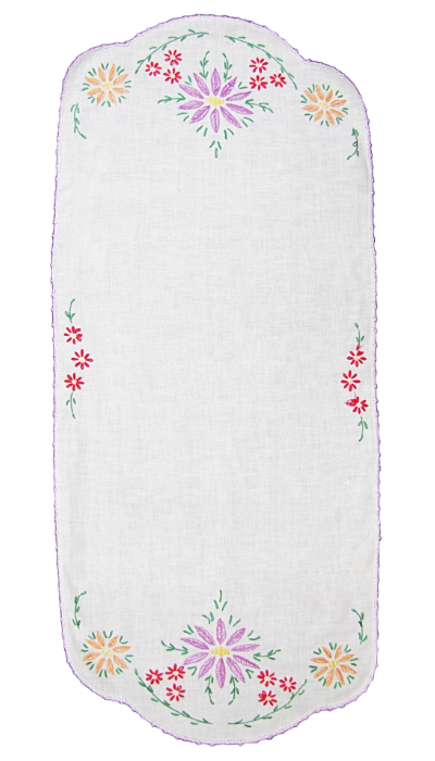Vintage Table Runner with Embroidered Flowers on Ends MAIN