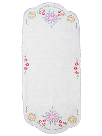 Vintage Table Runner with Embroidered Flowers on Ends THUMBNAIL
