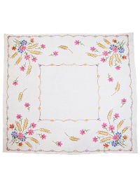 Vintage Tablecloth with Embroidered Flowers and Wheat Stalks in Corners THUMBNAIL