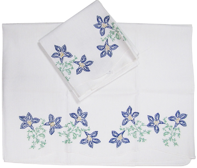 Vintage Pillowcases with Blue Embroidered Flowers—Set of Two MAIN