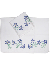 Vintage Pillowcases with Blue Embroidered Flowers—Set of Two THUMBNAIL