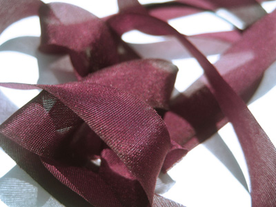 "Hanah Hand-dyed Silk Ribbon, 5/8"" — Garnet MAIN"
