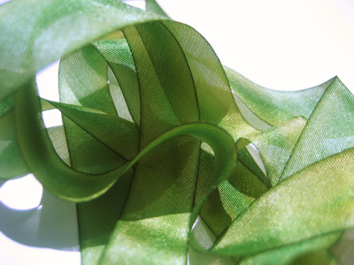 "Hanah Hand-dyed Silk Ribbon, 5/8"" — Green Apple MAIN"