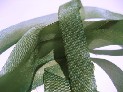 "Hanah Hand-dyed Silk Ribbon, 7/16"" — Green Tea MAIN"