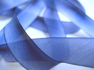 "Hanah Hand-dyed Silk Ribbon, 1"" — Periwinkle MAIN"