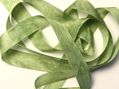 "Woven Edge Rayon Ribbon, 1/2"" - Moss Green MAIN"