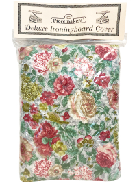 Deluxe Ironing Board Cover – Rose, Green and Gold Floral on Light Blue (reversible) THUMBNAIL