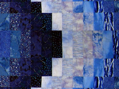 "Bargello Quilt Fabric Kit for Twin Size Quilt 66.5"" x 105""_  Blues MAIN"
