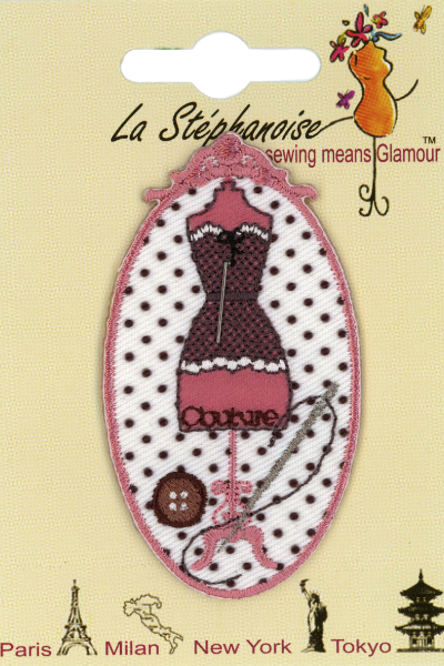 Dress Form Appliqué by La Stéphanoise - #15860 col. 001 - Pink MAIN
