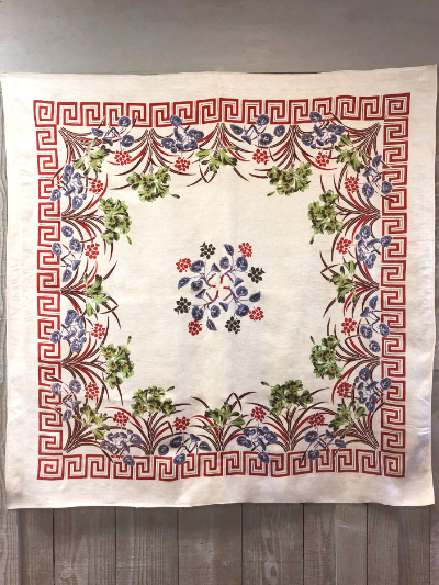 Vintage Large Tablecloth with Floral and Geometric Designs MAIN