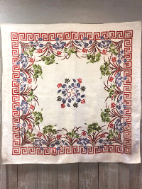 Vintage Large Tablecloth with Floral and Geometric Designs THUMBNAIL