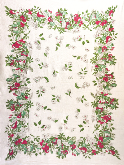 Vintage Large Tablecloth with Floral and Fruit Design MAIN