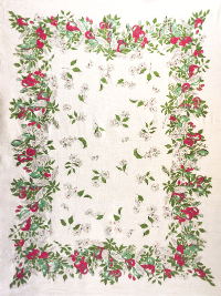 Vintage Large Tablecloth with Floral and Fruit Design THUMBNAIL
