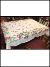 Vintage Large Tablecloth with Floral and Fruit Design SWATCH