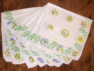 Vintage Napkins – White with Blue, Yellow and Green Floral Print with Green Leaves MAIN