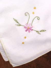 Vintage Embroidered Napkins – White with Yellow Trim and Pink Embroidered Flower THUMBNAIL