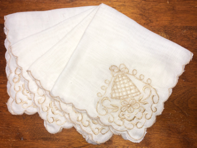 Vintage Embroidered Napkins – Cream with Beige Embroidery MAIN