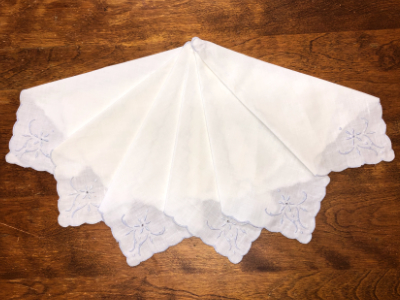 Vintage Embroidered Napkins – White with Light Blue Embroidery and Trim MAIN