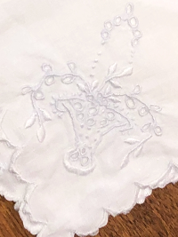 Vintage Embroidered Napkins – White with Basket Design THUMBNAIL
