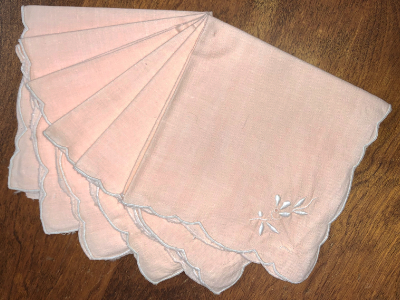 Vintage Embroidered Napkins – Light Pink with White Embroidery MAIN