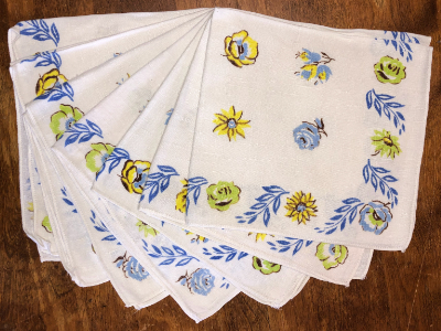 Vintage Napkins – White with Blue, Yellow and Green Floral Print with Blue Leaves MAIN