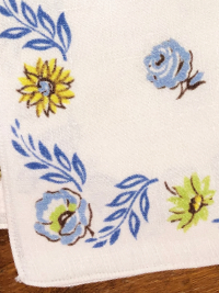 Vintage Napkins – White with Blue, Yellow and Green Floral Print with Blue Leaves THUMBNAIL
