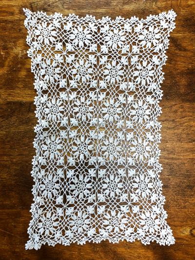 Vintage Crocheted Rectangle Doily with Flower Pattern MAIN