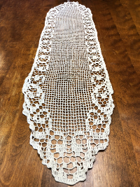 Vintage Long Crocheted Doily Runner with Swirl Border THUMBNAIL