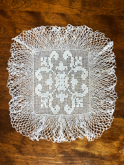 Vintage Crocheted Square Doily with Fleur-de-lis Motif MAIN