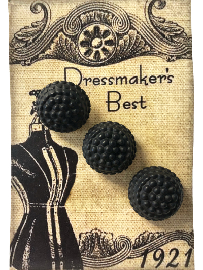 VINTAGE Black Round Buttons on Card with Dress Form MAIN