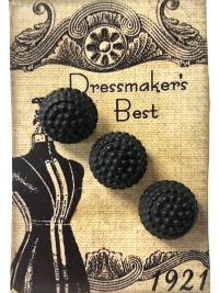 VINTAGE Black Round Buttons on Card with Dress Form THUMBNAIL