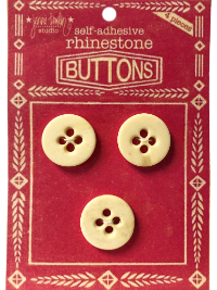 "VINTAGE Ivory-Colored Round Underwear Buttons on Red ""BUTTONS"" Card THUMBNAIL"