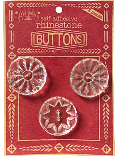 "VINTAGE Clear Glass Round Buttons on Red ""BUTTONS"" Card MAIN"